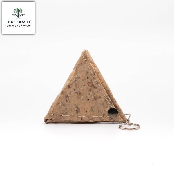 Veganer/Nachhaltiger Dreiecks-Geldbeutel mit Schlüsselanhänger aus Maulbeerbaumrinde mit Tamarind