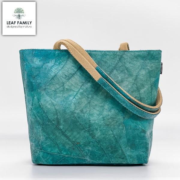 Vegane und nachhaltige Handtasche für Damen aus Teakblättern