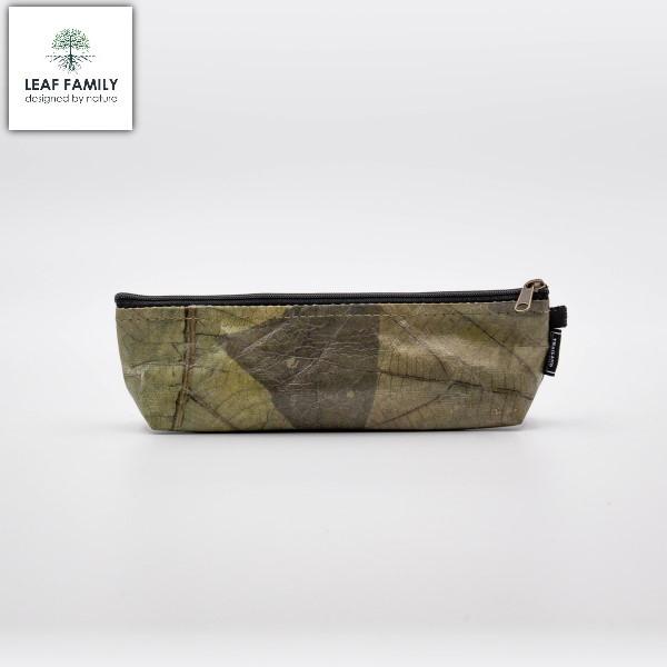 Vegane und nachhaltige Kosmetiktasche/Federmäpchen - Tasche aus Teakblatt